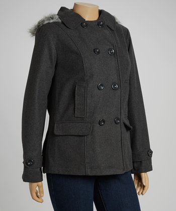 Charcoal Fleece Peacoat - Plus