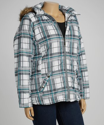 Black & Sky Plaid Puffer Jacket - Plus