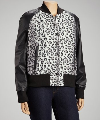 Gray & Black Leopard Club Jacket - Plus