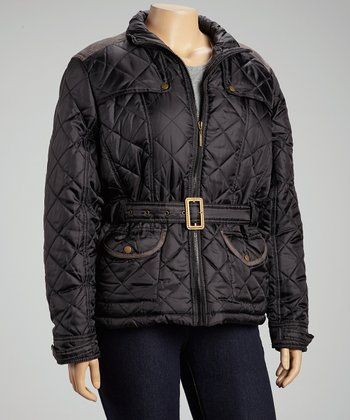 Black Quilted Belted Jacket - Plus
