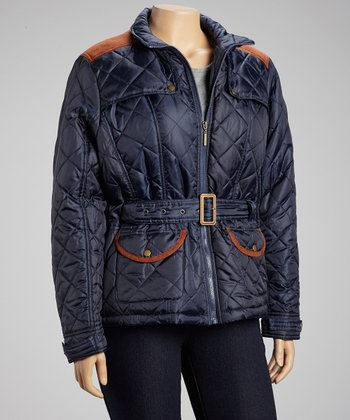 Navy Quilted Belted Jacket - Plus
