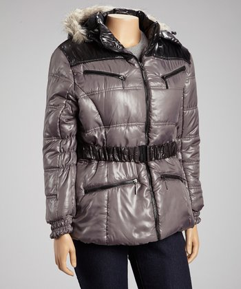 Charcoal Shine Puffer Jacket - Plus