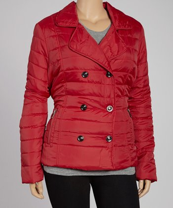 Red Thin Quilt Jacket - Plus