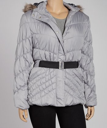Silver Belted Bubble Jacket - Plus