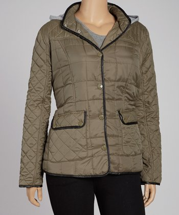 Army Green Diamond Quilt Thin Fill Jacket - Plus