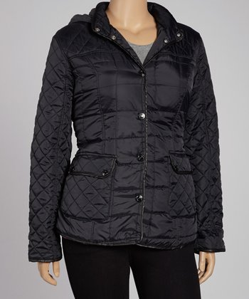 Black Diamond Quilt Thin Fill Jacket - Plus