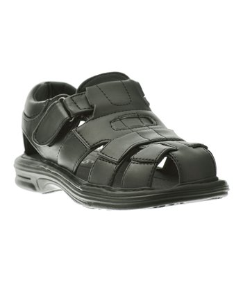 Black Four-Strap Buckle Sandal