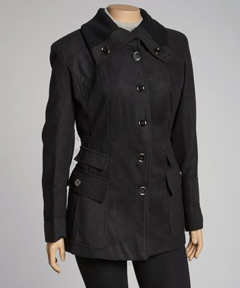 Black Knit Collar Jacket - Plus
