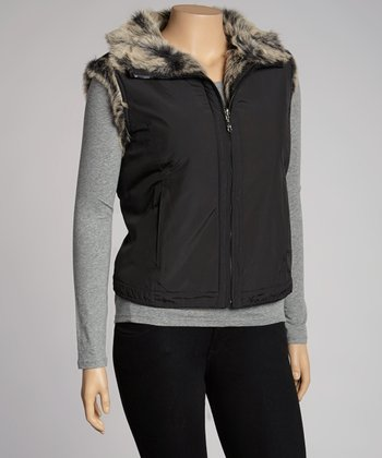 Black Reversible Faux Fur Vest - Plus