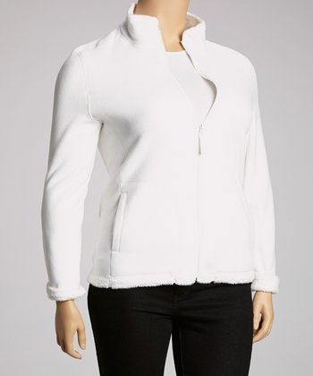 White Fleece Jacket - Plus