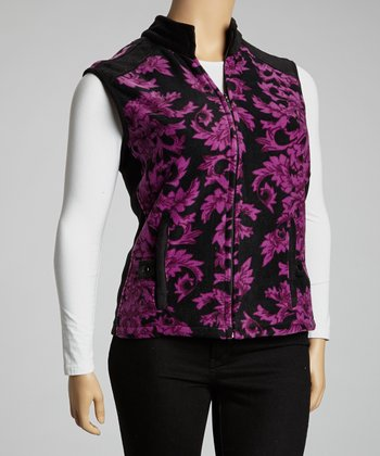 Plum Floral Fleece Vest - Plus