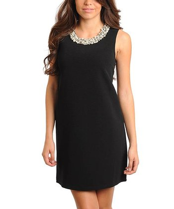 Black Pearl-Collar Dress