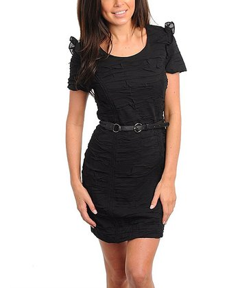 Black Ruffle Belted Short-Sleeve Dress