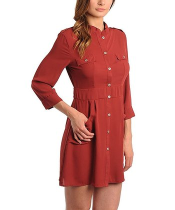 Burgundy Pocket Shirt Dress
