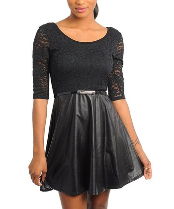 Black Sheer Lace Belted Dress