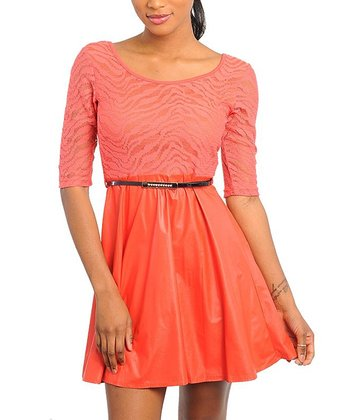 Coral Belted Three-Quarter Sleeve Dress