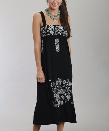 Black Empire-Waist Floral Dress - Women