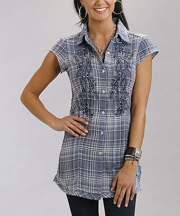 Steel Blue Embroidered Plaid Button-Up - Women