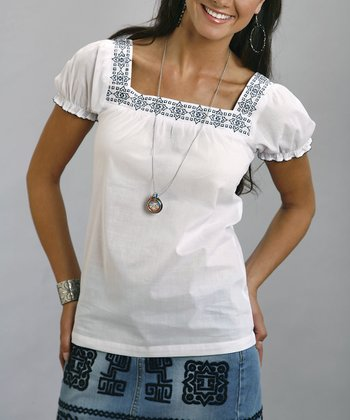 White Embroidered Square-Neck Top - Women