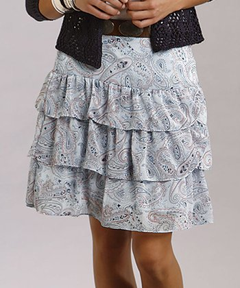 Blue & White Paisley Tiered Skirt - Women