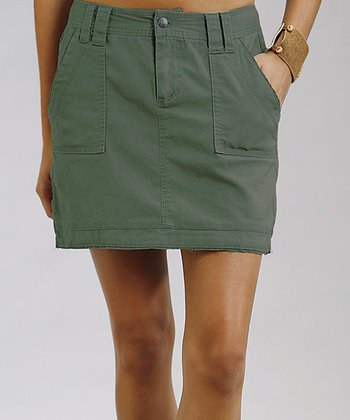 Olive Stretch Twill Skirt - Women