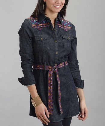 Dark Denim Belted Shirt - Women