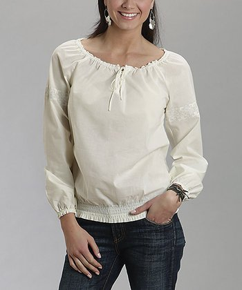 Cream Lace-Trim Peasant Top - Women