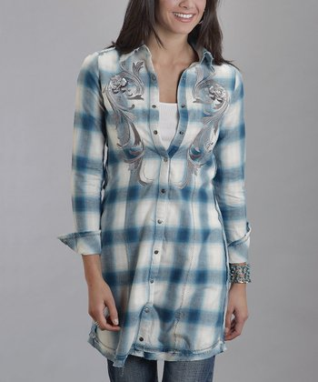 Blue Ombré Flannel Button-Up - Women