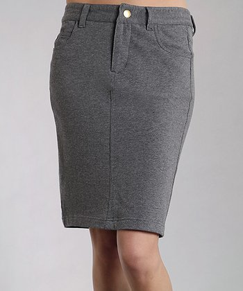 Charcoal Heather Fleece Pencil Skirt - Women