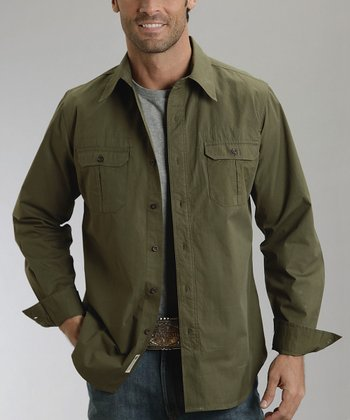 Olive Heavy Poplin Button-Up - Men