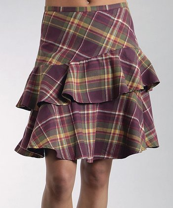Purple Plaid Tiered Skirt - Women