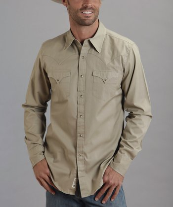 Khaki Two-Pocket Western Button-Up - Men