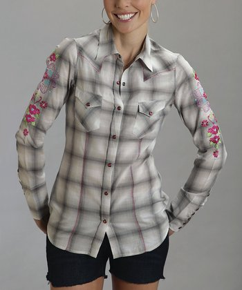 Gray Windowpane Plaid Button-Up - Women