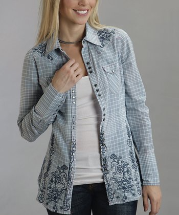 Light Blue Windowpane Plaid Button-Up - Women