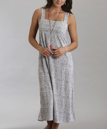 Gray Floral Empire-Waist Dress - Women