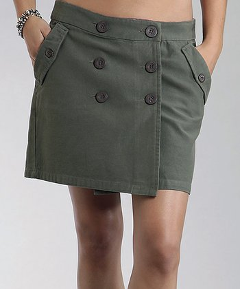 Olive Canvas Wrap Skirt - Women