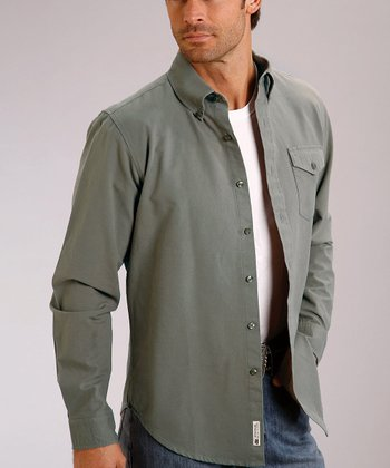 Gray Vintage Solid Oxford Button-Up - Men