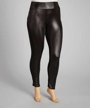 Black Faux Leather Leggings - Plus