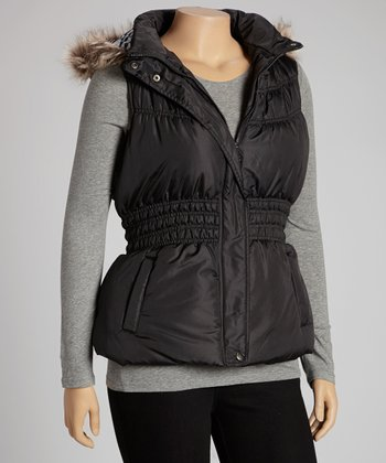 Black Peplum Hooded Puffer Vest - Plus