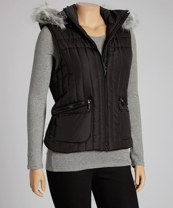 Black Faux Fur Trim Puffer Vest - Plus