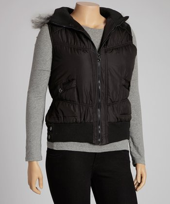 Black Funnel Collar Puffer Vest - Plus