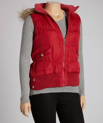 Red Funnel Collar Puffer Vest - Plus