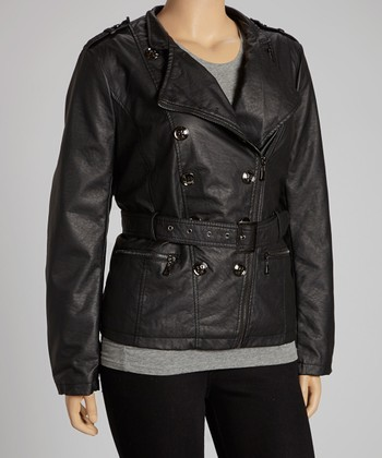 Black Double-Breasted Belted Coat - Plus