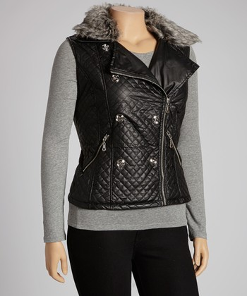 Black Quilted Faux Fur Collar Vest - Plus