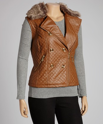 Toffee Quilted Faux Fur Collar Vest - Plus
