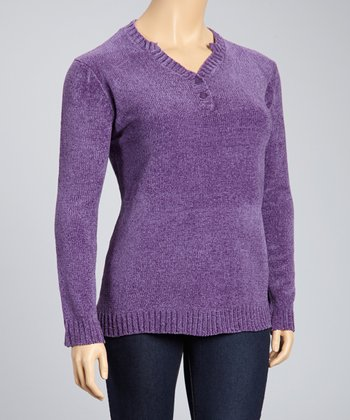 Purple Ribbed V-Neck Sweater - Plus