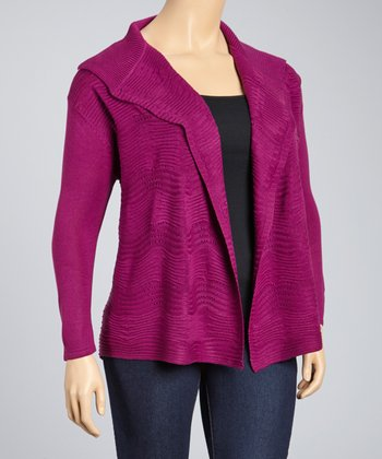 Purple Textured Open Cardigan - Plus