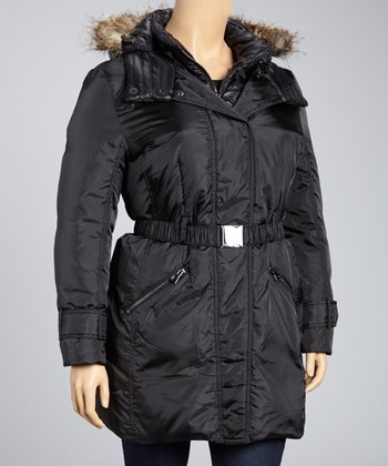 Black Faux Fur Belted Down Coat - Plus