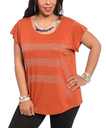Rust Studded Scoop Neck Cap-Sleeve Top – Plus