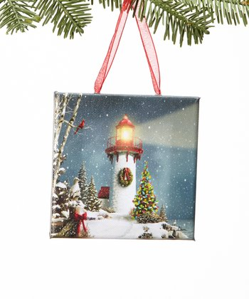 Christmas Lighthouse Canvas Ornament
